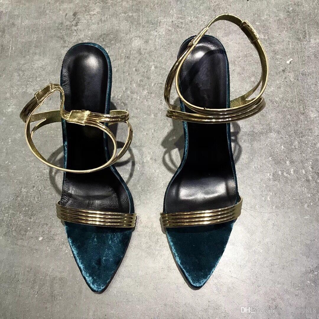 4d3e1b80 Compre Envío Gratis Moda Mujer Sandalias De Cuero De Oro Azul De Terciopelo Con  Tirantes Tacones Altos Tobillo Envolver Zapatos Sandalias 10 Cm A $70.36  Del ...