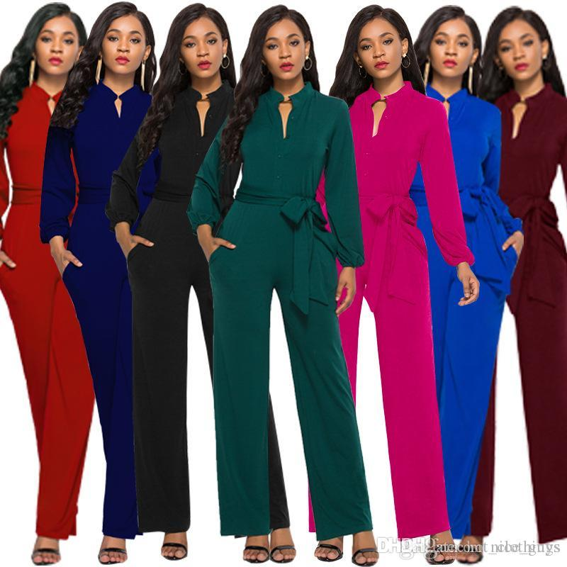 e2cb4883ec32 2019 Fashion Jumpsuit Women Romper 2019 New Style Buttons Casual Overalls Long  Sleeve Autumn Winter Jumpsuits Full Pants Plus Size From Nice guys
