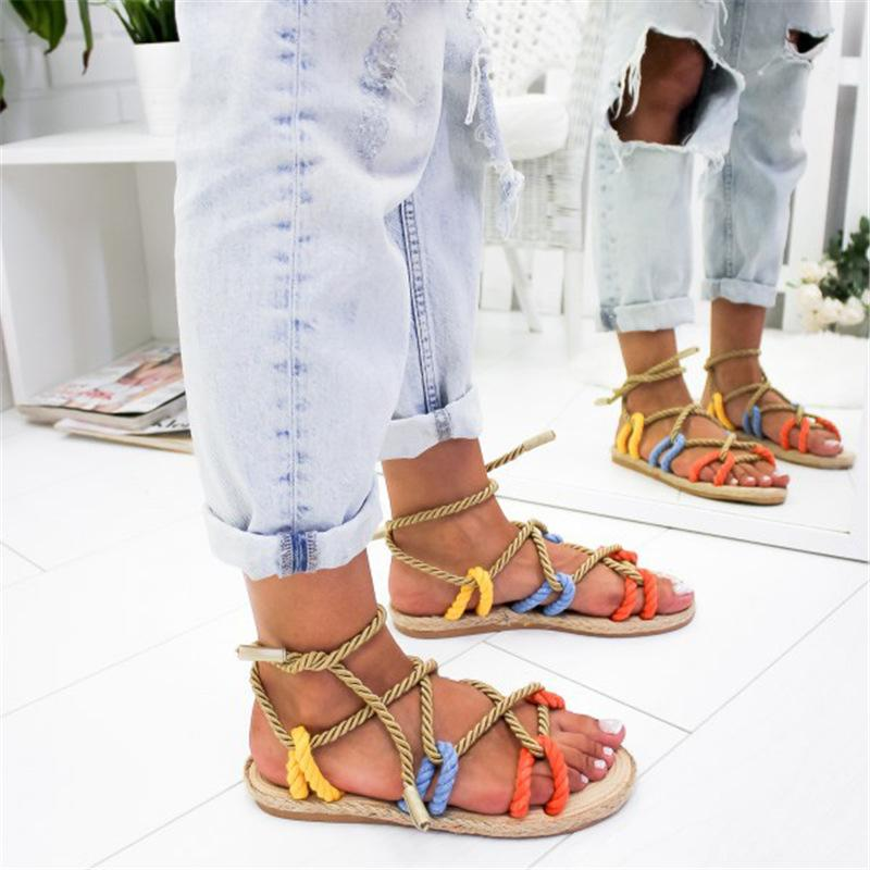 1Women Sandals 2019 Fashion Summer Shoes Woman Flat Sandals Hemp Rope Lace Up Gladiator Sandals Non-slip Beach Chaussures Femme