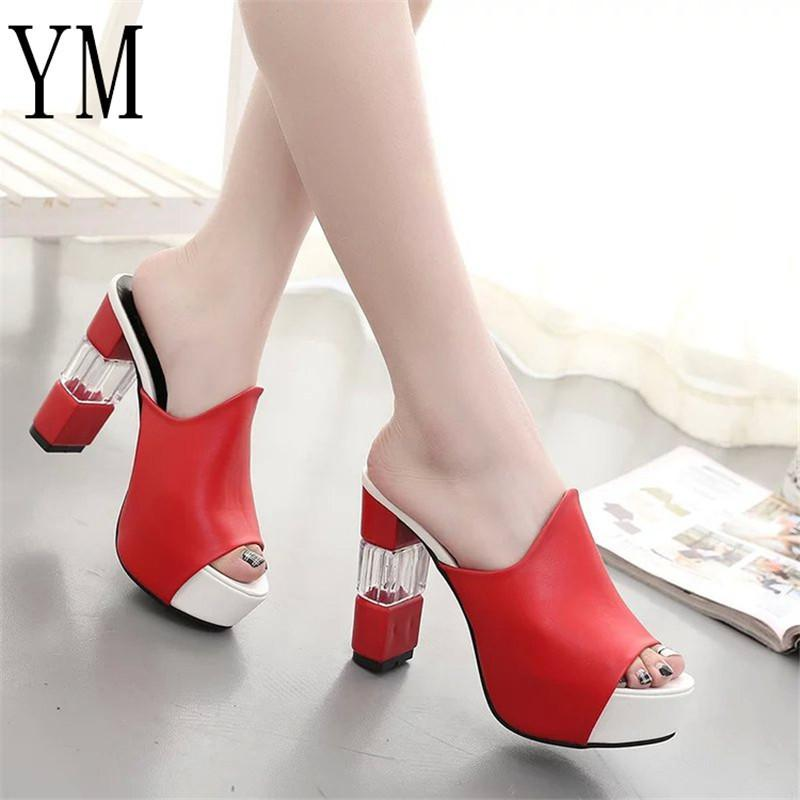Designer Dress Shoes 018 Sexy Summer Women Elegant Red High Heel Sandals  Peep Toe Platform Crystal Chunky Heel Lady Thick Heel Fashion 40 Cheap Shoes  Dansko ... b851069579d4