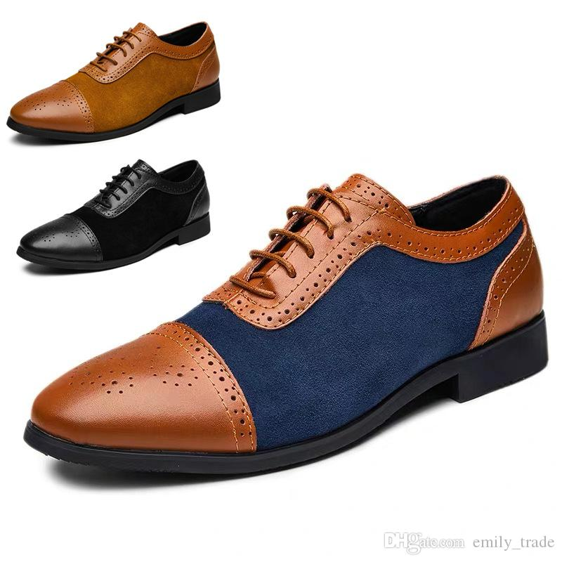 78e75149f81b33 2019 New High Quality Genuine Leather Men Brogues Shoes Formal Lace Up  Bullock Business Dress Men Oxfords Shoes Male Boots Shoes White Mountain  Shoes From ...