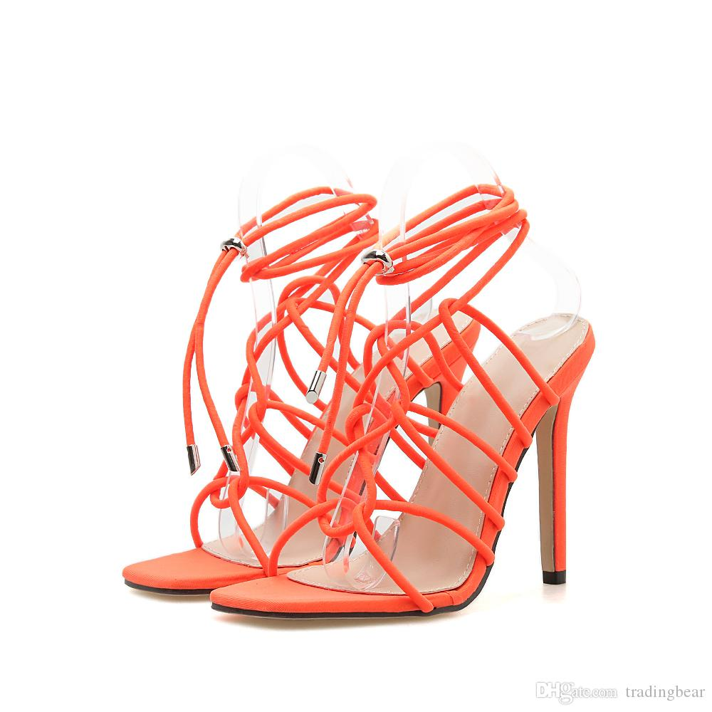 Size 35 To 42 trendy synthetic suede ankle wrap stiletto heels designer gladiator sandals black orange 11cm