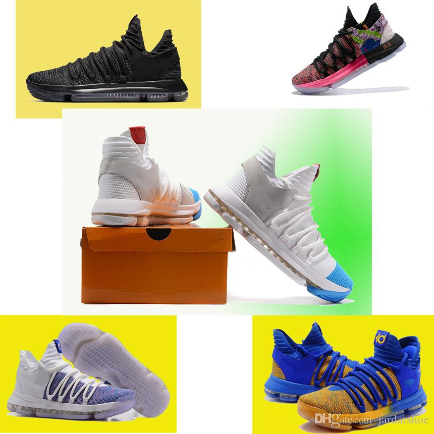 b88ded9a3fb0 Kevin Durant KD 10 Triple Black Dark Grey Men Shoes Triple Black Warriors  Away Royal Blue Yellow Sneakers Size 7 12 Loafers For Men Red Shoes From ...