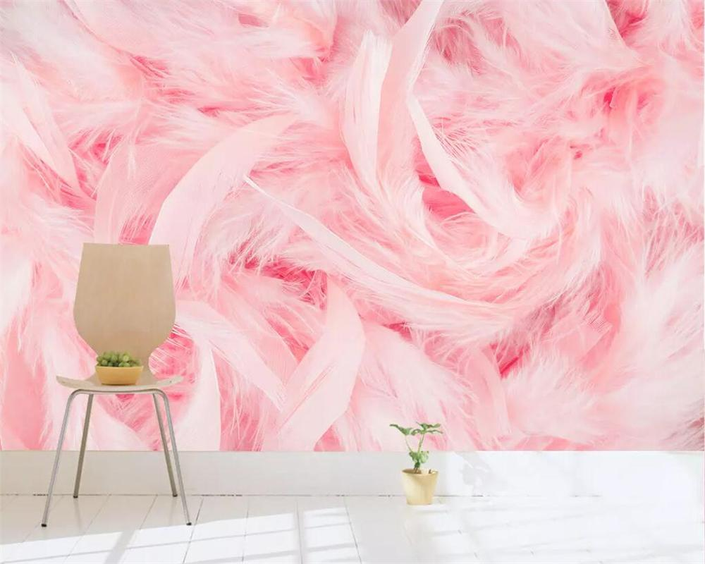 Beibehang Custom wallpaper pink flamingo feather TV sofa background wall paper home decoration living room bedroom 3d wallpaper