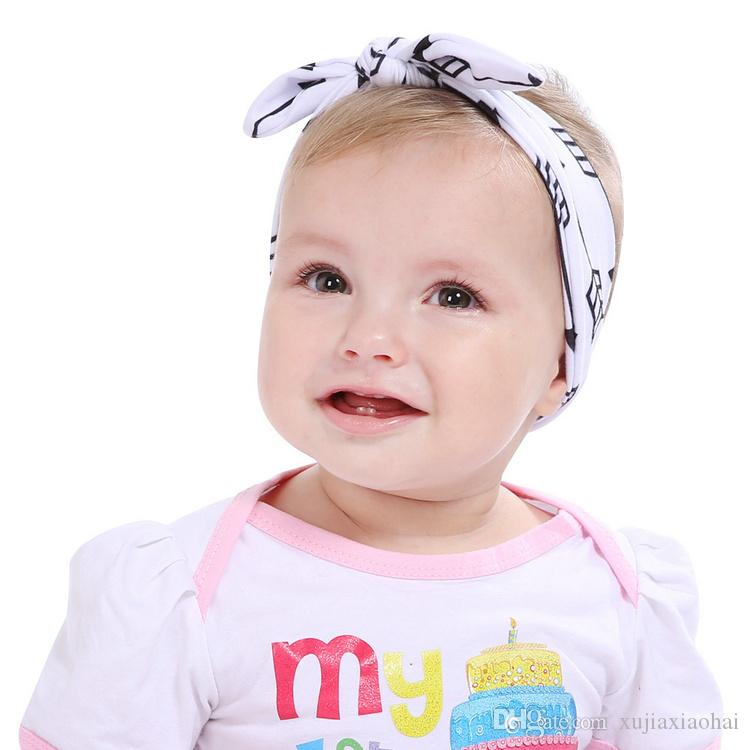 DIY 묶인 매듭 아기 토끼 귀 머리 밴드 가변 코튼 머리띠 깃털 화살표 인쇄 topknot 6 스타일