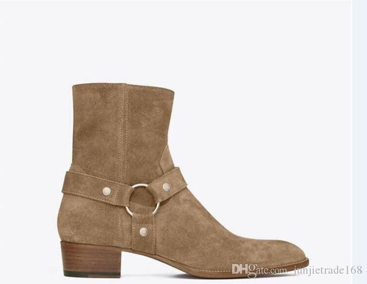 Factory outlet exclusivo hecho a mano beige kanye west suede leather slp Boots REAL PICTURE hebilla de tobillo High Top denim men Boots