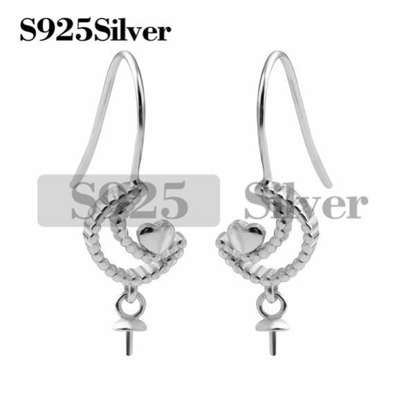 8c120eebb HOPEARL Jewelry Moon with Little Heart Semi-finished Mountings Earrings  Pearl Accessories 925 Sterling Silver Earrings Findings Pearl Earring DIY  Findings ...