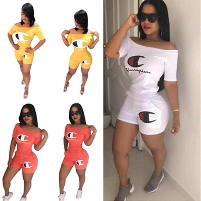af17b3d2b6 2019 Women Champions Letter Shorts Set Tracksuit Flat Off Shoulder T Shirt  Short Sleeves Outfit Sportswear Club Casual Clothes C41601 From  Pinkaboo_cargo, ...