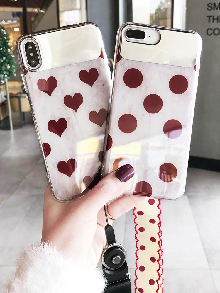 New design mirror phone case with chain wine red pattern case cover for iphone 6 7 8 plus X Xs Xr Xs max