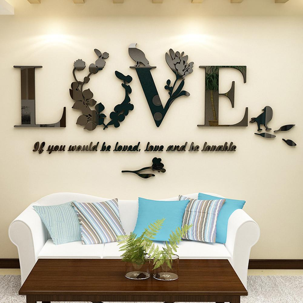 3D Leaf LOVE Wall Stickers Lettering Art Quote Sticker For Living Room Bedroom Acrylic Mural Wall Decal Removable Art Home Decor