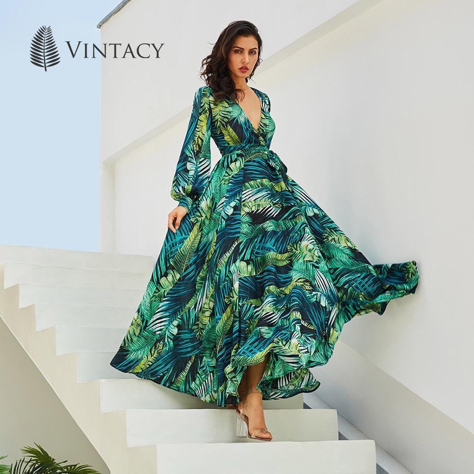 80b90528c4b8 2019 Vintacy Long Sleeve Dress Green Tropical Beach Vintage Maxi ...