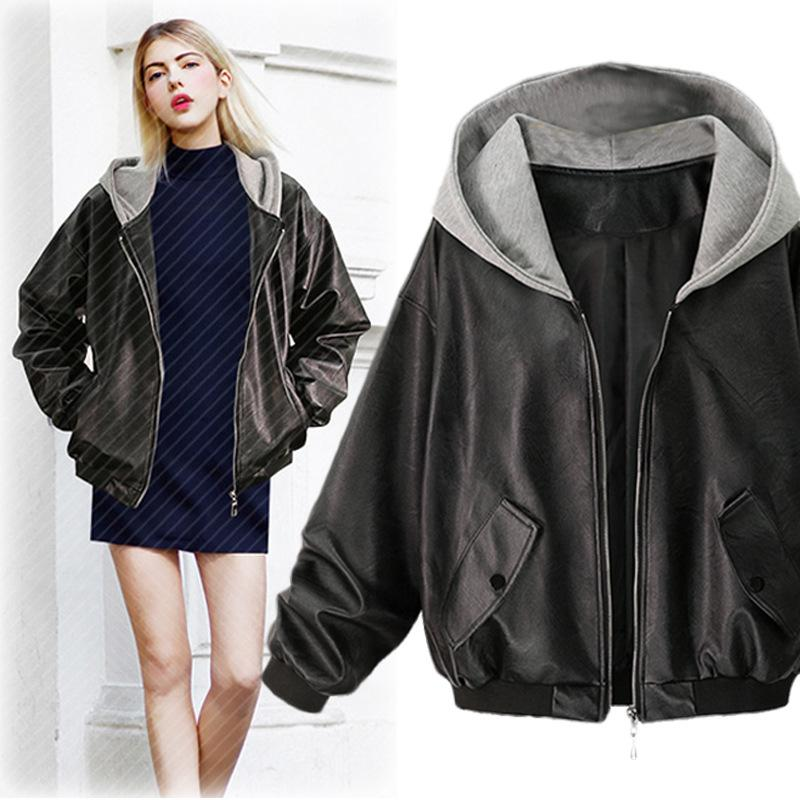 f71bfc4404eb Spring 2019 Faux Leather PU Women Hoodies Jacket Fashion Long Sleeve ...