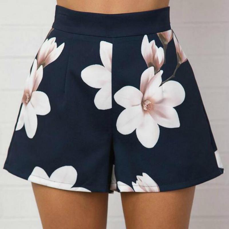 Acheter 2019 Mode Été Femmes Sexy Shorts Taille Haute Zippé Fleurs  Impression Dames Filles Casual Jambe Large Pantalon Court De  28.37 Du  Jincaile01 ... 6d7675aba73