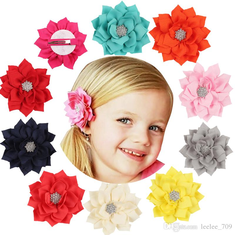 13 Color Girls cloth Flower hairpins acrylic Rhinestones Solid colors 9cm flower hair clips With Soft Felt Backing