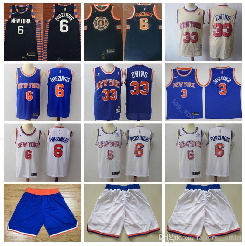 watch 60c52 0a321 Edition City Kristaps 6 Porzingis Jersey Short New York Basketball Knicks  Tim 3 Hardaway Jr Jerseys Patrick 33 Ewing Navy Blue White Beige