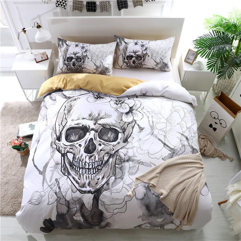 3D Skull Bedding Sets White Color Duvet Covers For King Size Bed ...
