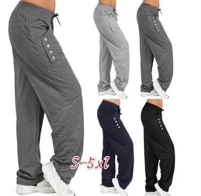 d132698f24c25 Oversized Women Pants Casual Fashion Autumn Sports Pants Button ...