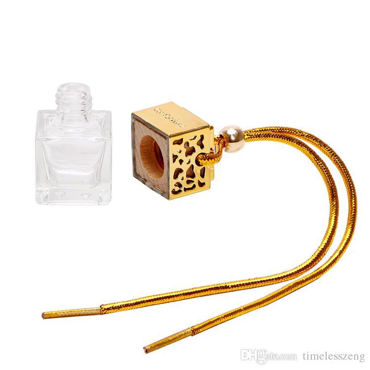 Cube Hohl Auto-Duftstoff-Flaschen-Rück Ornament Hanging Lufterfrischer für ätherische Öle Diffusor Duft leeren Glasflasche Anhänger