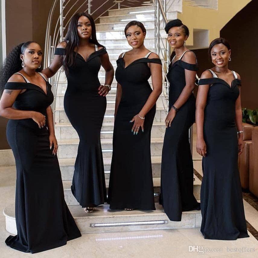 db1522baca4 2019 Plus Size African Black Long New Mermaid Bridesmaid Dresses Off  Shoulder Formal Wedding Guest Dress Robe D invité De Mariage Vestidos  Beaded Lace ...