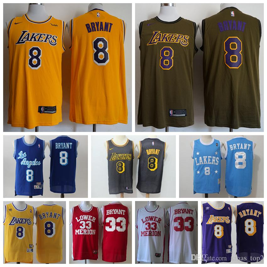 c15300fa073c New Retro Mens 8 Bryant Los Angeles Jerseys Lakers Basketball Jersey  Stitched Classic 33 Kobe Lower Merion High School Jerseys Wedding Party  Shirts ...