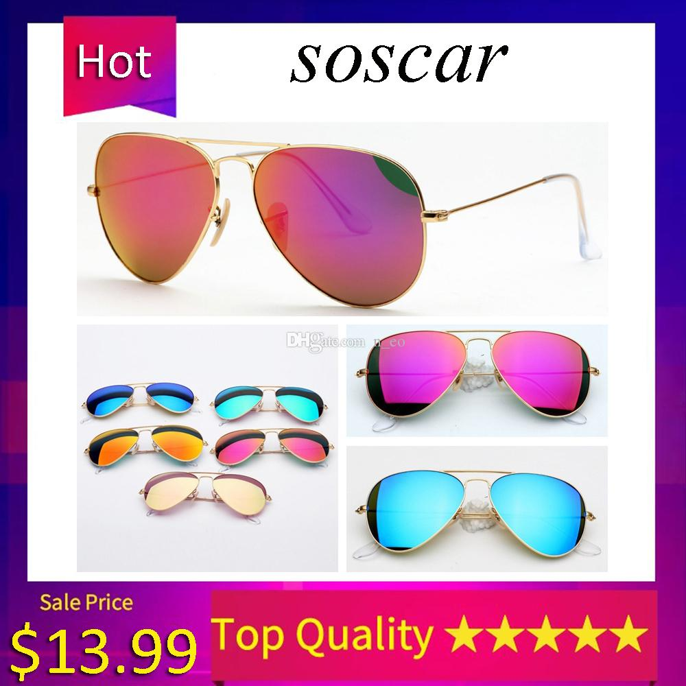 Soscar Pilot Sunglasses Classic Women Men Sunglasses Brand Designer Top Quality Sunglasses Metal Frame Flash Mirror Glass Lens 58mm with Box