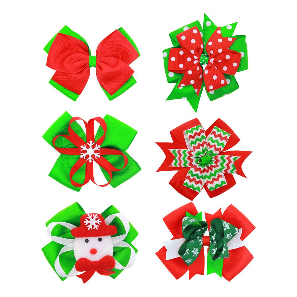 Christmas Hair Clips.6pcs Christmas Hair Bow Cute Bow Boutique Hairpin Barrette Party Hair Accessary Hair Clips For Baby Girls Kids