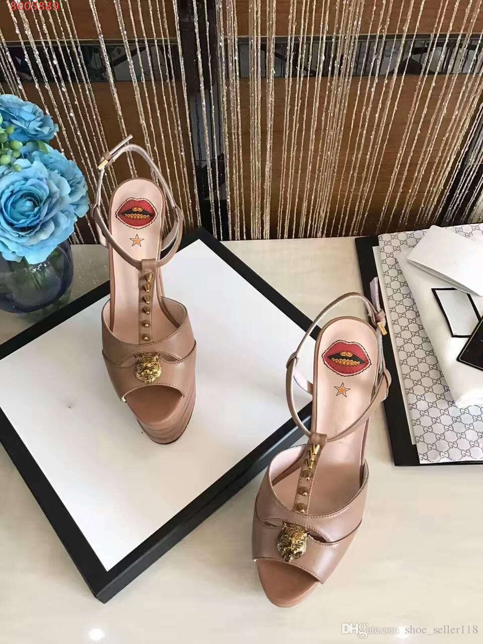 b650c9d3c Compre Moda De Verano Plataforma De Cuero Bomba Marca De Lujo Italia Diseño  T Correa De Tacones Altos Labios Sexy Cabeza Felina Vestido Zapatos  Stilettos De ...