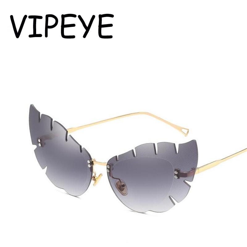 1882e321d67e Leaves Feathers Designer Vintage Cat Eye Sunglasses Women 2018 ...