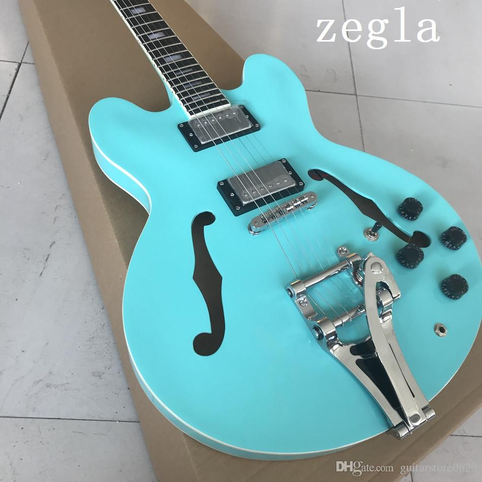 New Arrival Top Quality Custom Shop Tiger Flame Maple Model 335 with Tremolo Blue Jazz Electric Guitar Semi Hollow Body Free Shipping