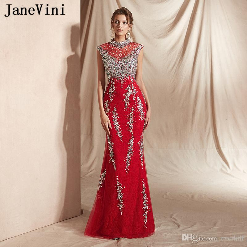 JaneVini 2019 New Arrival Elegant Red Mermaid Long Prom Dresses Luxury Heavy Beading Formal Evening Dress High Neck Lace Women Party Gowns