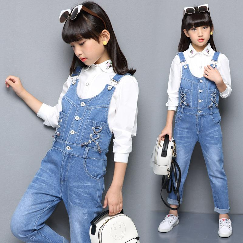 ad423cba5 Denim Overalls Spring Children Clothing 2019 Girls Denim Jumpsuit ...