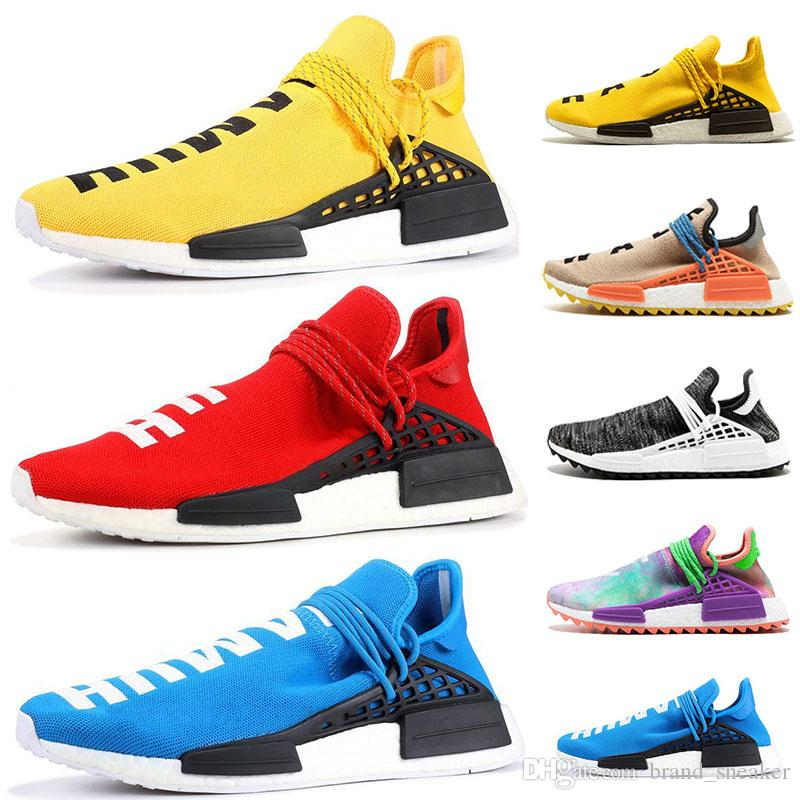 c4440cae1 2019 36 47 Human Race Trail Shoes Womens Mens Pharrell Williams Brand HU  Runner Yellow Black White Red Green Grey Blue Sport Runner Sneaker From ...