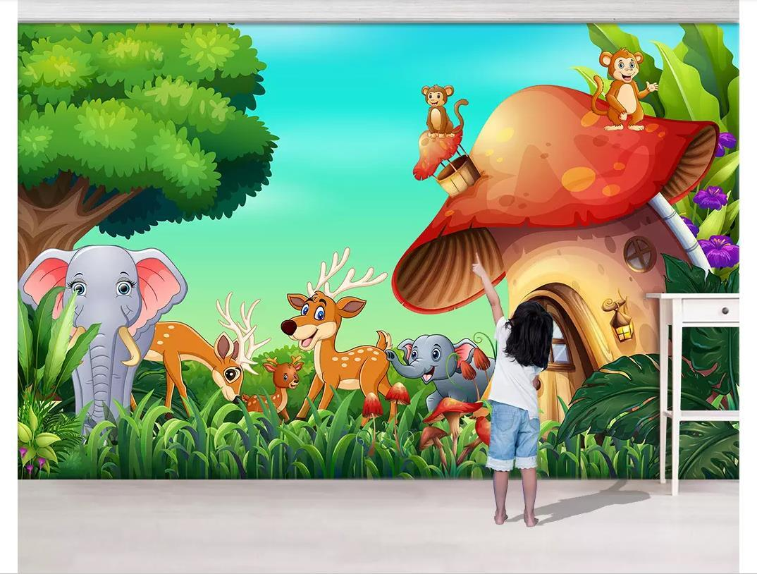 3D Custom wall papers home decor photo wallpaper Nordic wind animal forest elephant monkey mushroom house children's room background wall