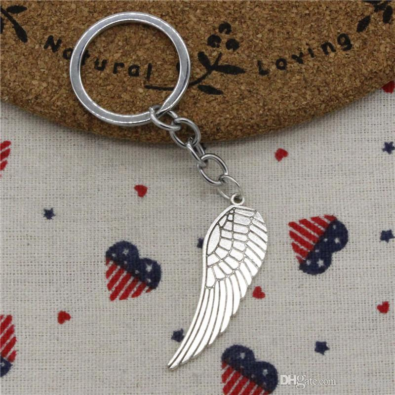 Wholesale Fashion Keychain angel wings 47*15mm Pendants DIY Men Jewelry Car KeyChains Holder Souvenir For Gift