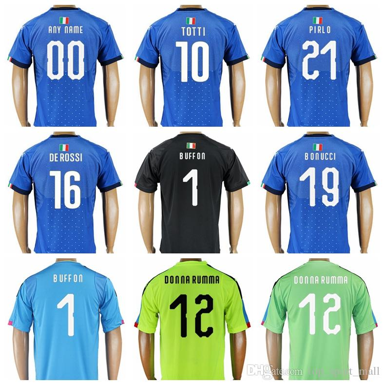 661d91b547c 2019 2018 World Cup Soccer 21 Andrea Pirlo Jersey 1 Gianluigi Buffon 9  Mario Balotelli 10 Francesco Totti Football Shirt Kits Uniform Thai Blue  From ...