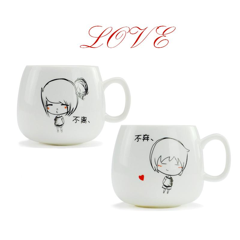 Gift of love Cartoon Couple Ceramic mugs,men women cup,Unique Porcelain Tea Mug Creative Catlike Letter Coffee White Milk Cup