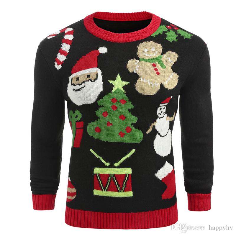 520db5d6af Mens Christmas Elk Knitted Sweater Top Fashion England Style Autumn ...