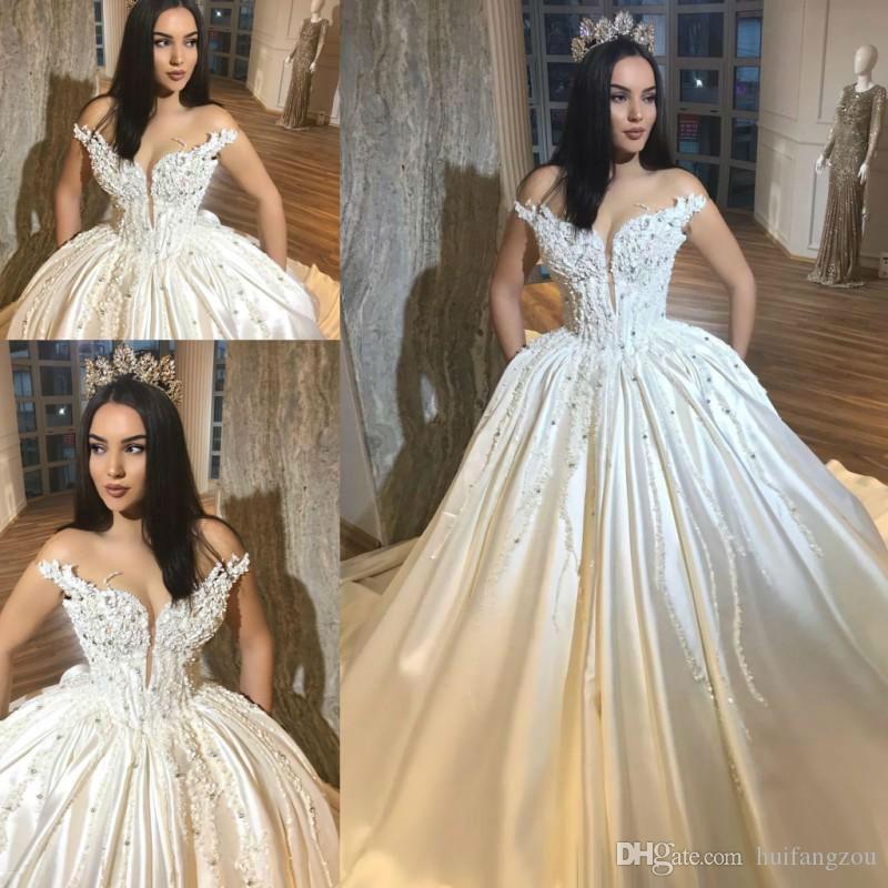 0187077a83 Gorgeous Ball Gown Wedding Dresses 2019 Off Shoulder 3D Floral Applique  Beaded Vintage Wedding Dress Sexy Bridal Gowns robe de mariée