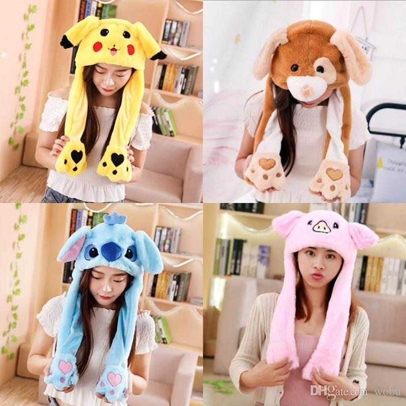 Hot Sell Fashion Moving Hat Rabbit Ears Plush Sweet Cute Airbag Cap 2 Color Can Be Choose Girl's Hats