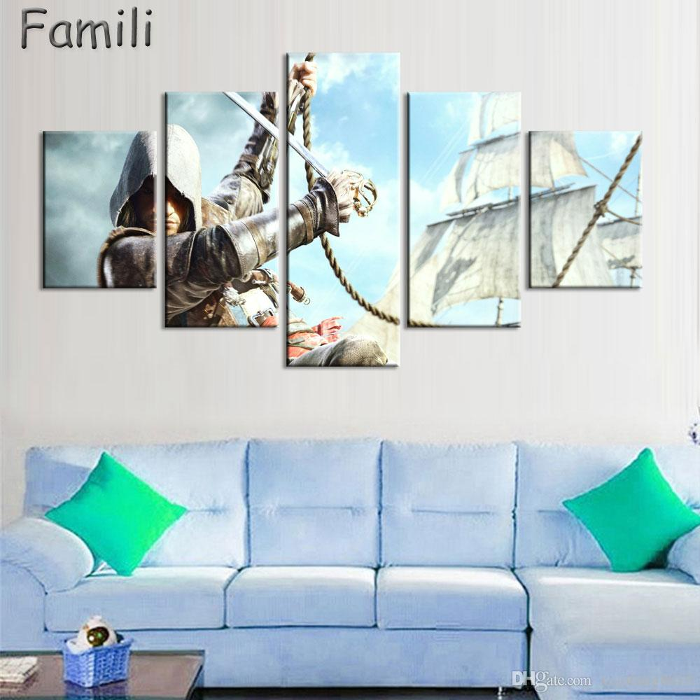 Home Decor Canvas Painting Abstract 5 Panel Movie Assassins Creed Personaggio Decorazione della parete Dipinti Quadri Moderni Wall Art
