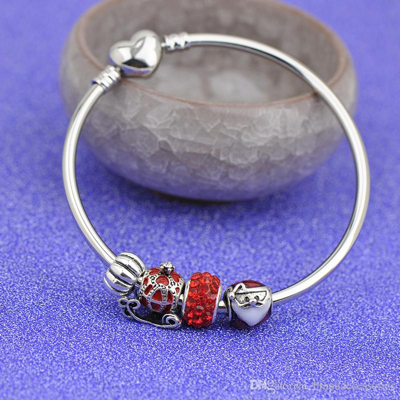Christmas Stainless Steel s Bracelets Fit Pandora Women Girl Boy Red Glass Beads Silver Bangle Jewelry Friendship gift Kids pulseras P127
