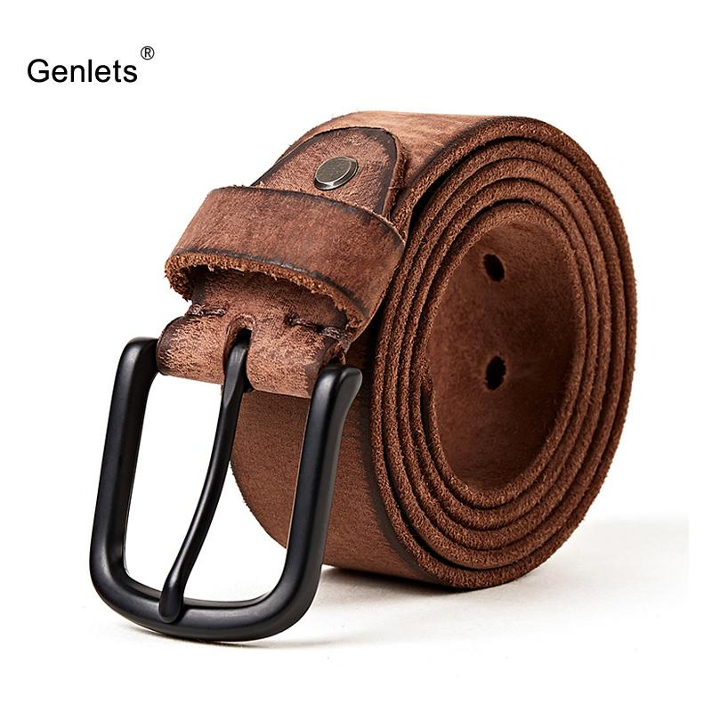 2eac7798f411f luxury genuine leather belt men vintage pin buckle men's belt handmade jeans  strap cowhide young army green color