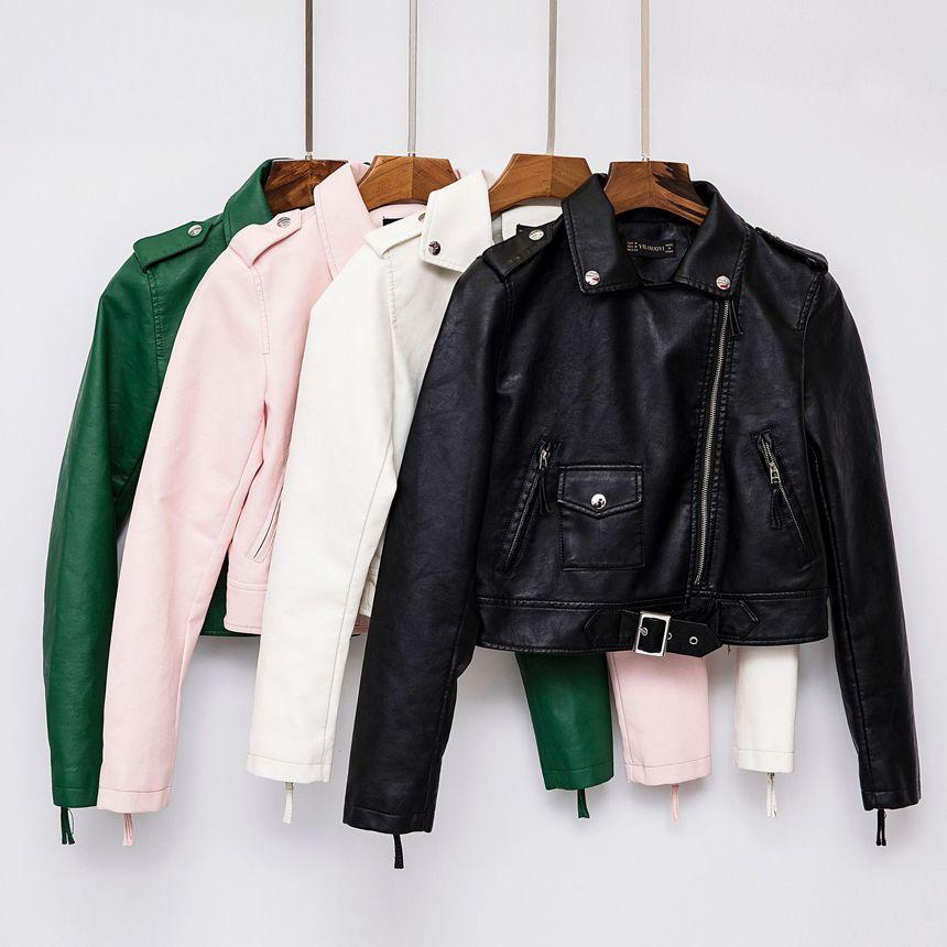 best loved 5aa72 c9195 giacca in pelle da donna moda verde bianco nero rosa jaqueta couro bomber  moto giacche in pelle da donna cappotto in pelle di marca