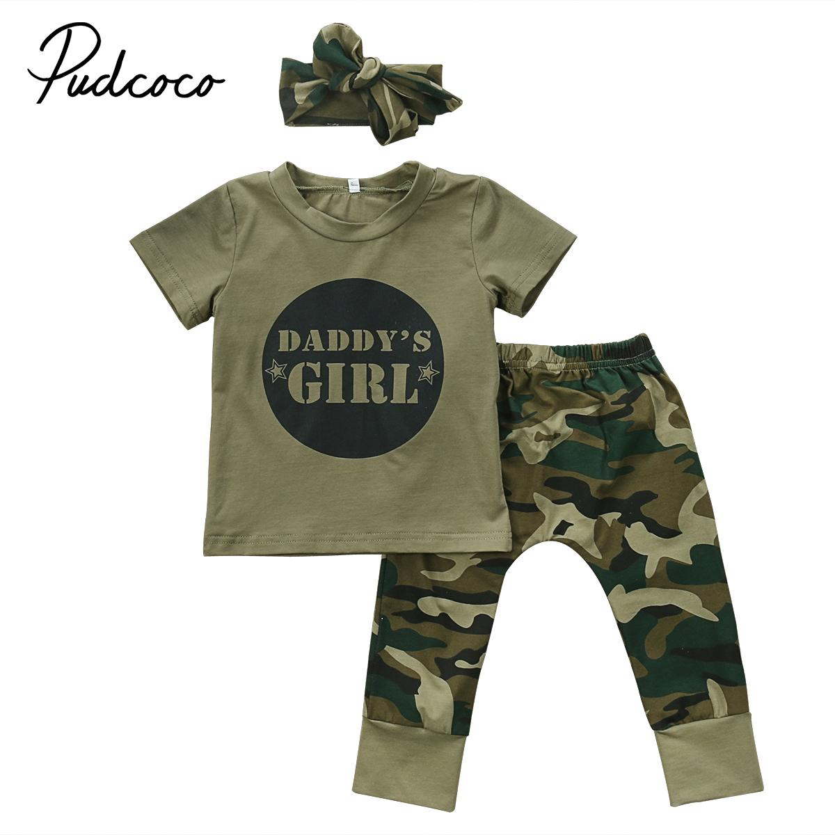 fc8db3d32b11a Summer Newborn Baby Boy Girls Camouflage T-shirt Tops+Pants Outfits Set  Clothes Army Green Children Letters Print Clothing 0-24M Y18120801