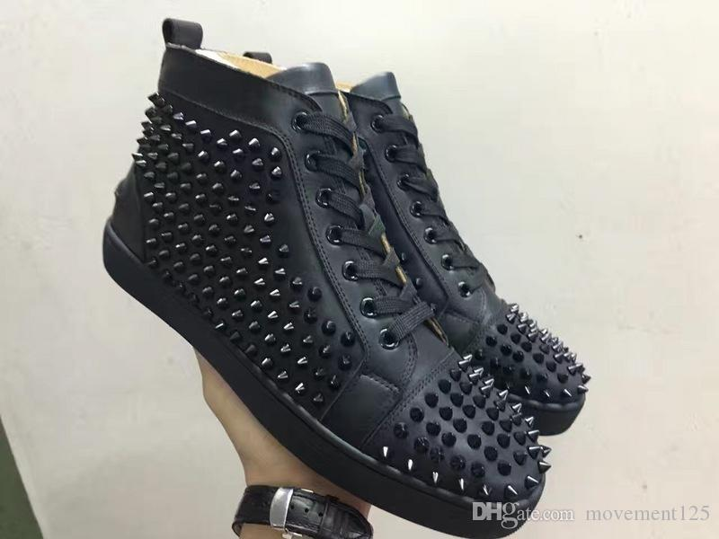 CS0258 Paris High Top Men Women With Spikes Lace Up Red Bottom Fashion High Quality Sneakers,Unisex Brands Comfortable Casual Flat
