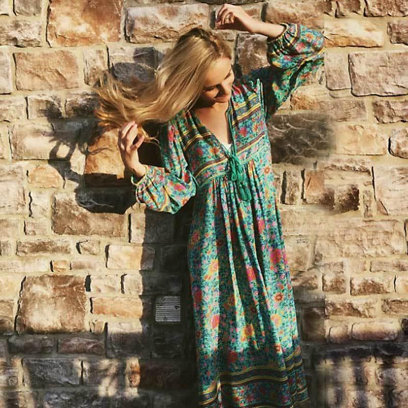 010eec8f7e Acheter Boho Été Inspiré Robe Bohème Imprimé Floral Manches Longues Gland Robes  Longues Col En V Lâche Robe Femmes Hippie Chic Robes Y190117 De $36.48 Du  ...
