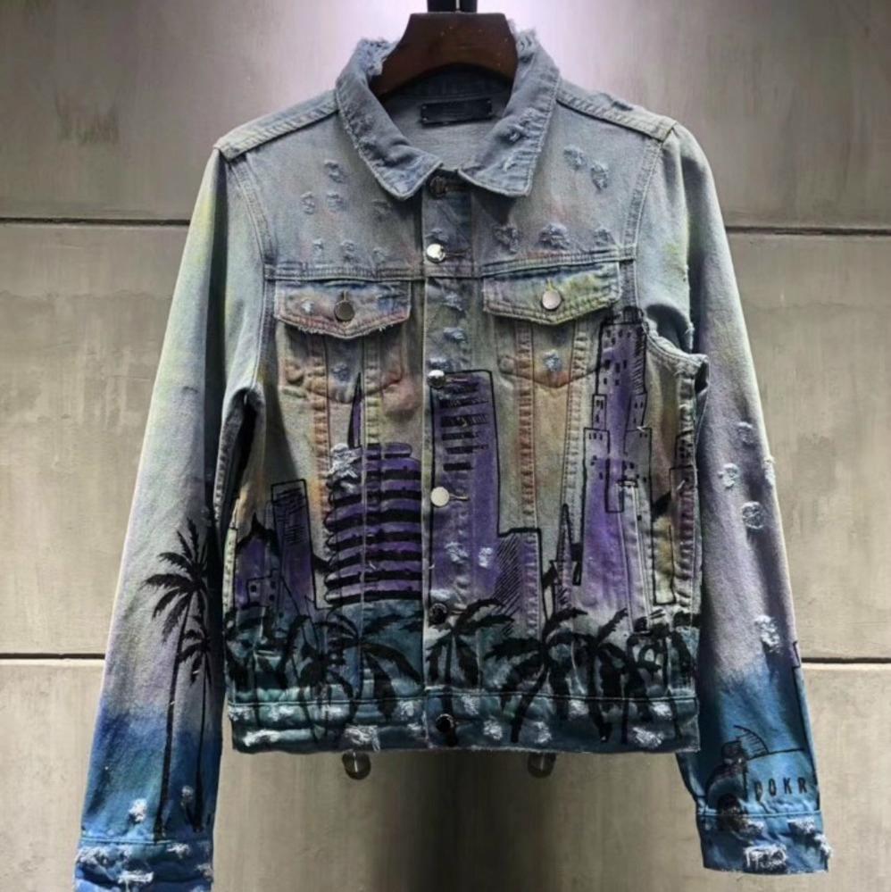 newest bb0ef c77e6 Giubbotto di jeans europeo di lusso lavato lettera stampa uomo e donna  Giubbotto di jeans elegante uomo di alta qualità confortevole giacca  HFWPJK138