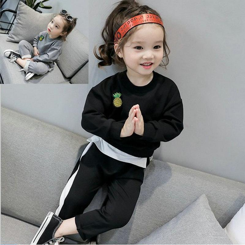 e5222587946ad 2017 Autumn Kids Clothing Sets Baby Girls Pineapple Printed Cotton Set  Winter Children Clothes Child T-Shirt+Pants Suit CC208