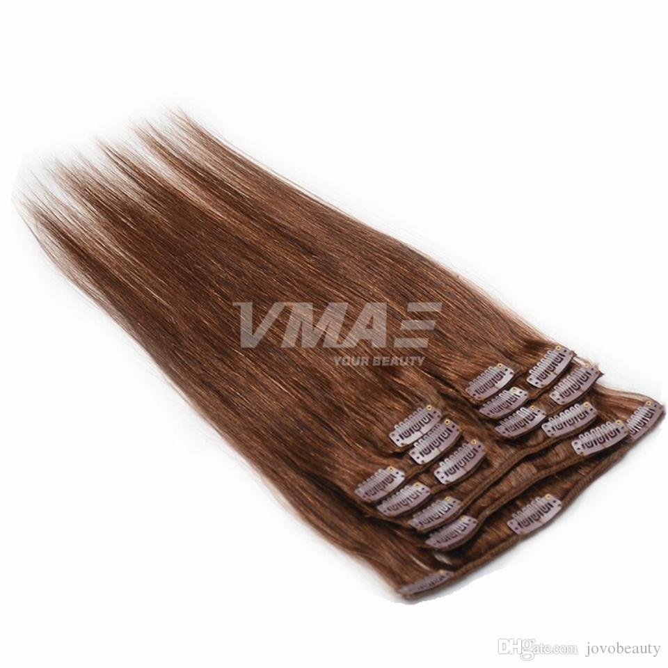VMAE 120G Clip In Silky Straight Hair Extensions Blonde Clip In Non Processed Human Hair Extensions