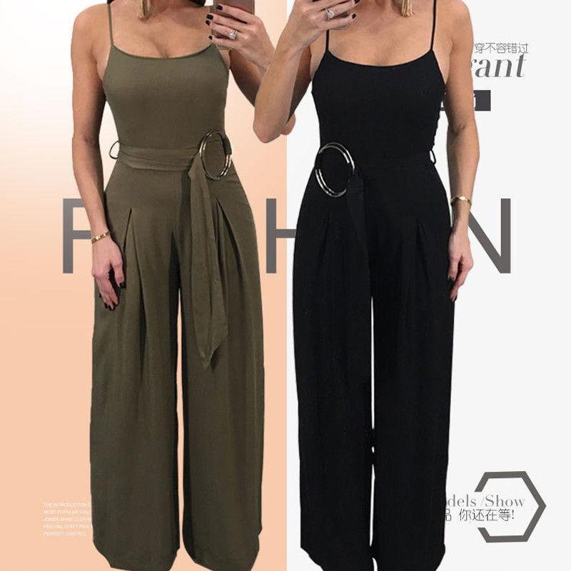 Women Ladies Summer Fashion Jumpsuits 2 Style Sleeveless Solid Sashes High Waist Backless Jumpsuits Size S/M/L/XL